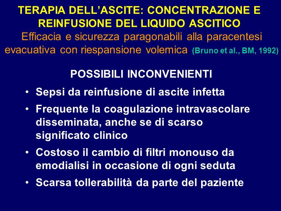 TERAPIA DELLASCITE: CONCENTRAZIONE E REINFUSIONE DEL LIQUIDO ASCITICO POSSIBILI INCONVENIENTI Sepsi da reinfusione di ascite infetta Frequente la coag