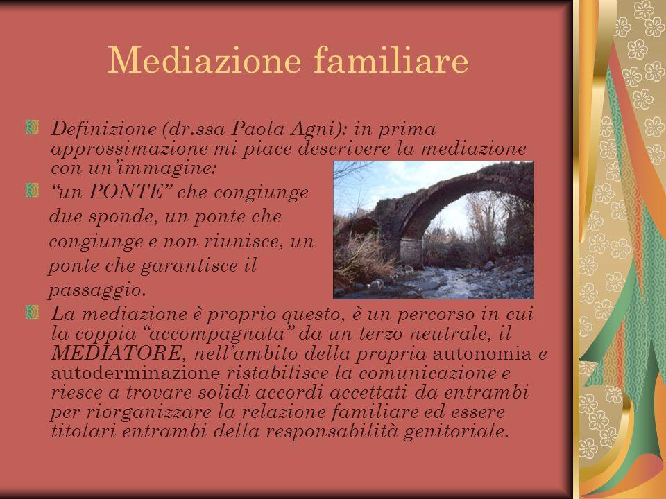 Mediazione familiare Definizione (dr.ssa Paola Agni): in prima approssimazione mi piace descrivere la mediazione con unimmagine: un PONTE che congiung