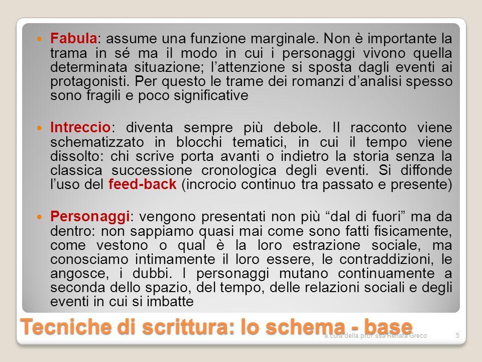 Tecniche di scrittura: lo schema - base Fabula: assume una funzione marginale. Non è importante la trama in sé ma il modo in cui i personaggi vivono q