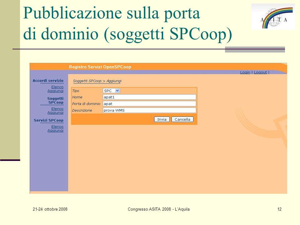 21-24 ottobre 2008 Congresso ASITA 2008 - L Aquila12 Pubblicazione sulla porta di dominio (soggetti SPCoop)