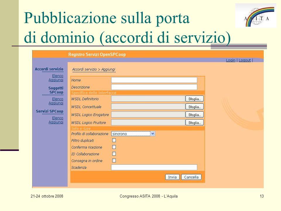 21-24 ottobre 2008 Congresso ASITA 2008 - L Aquila13 Pubblicazione sulla porta di dominio (accordi di servizio)