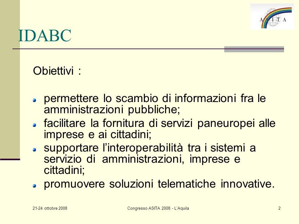 21-24 ottobre 2008 Congresso ASITA 2008 - L Aquila2 IDABC Obiettivi : permettere lo scambio di informazioni fra le amministrazioni pubbliche; facilitare la fornitura di servizi paneuropei alle imprese e ai cittadini; supportare linteroperabilità tra i sistemi a servizio di amministrazioni, imprese e cittadini; promuovere soluzioni telematiche innovative.