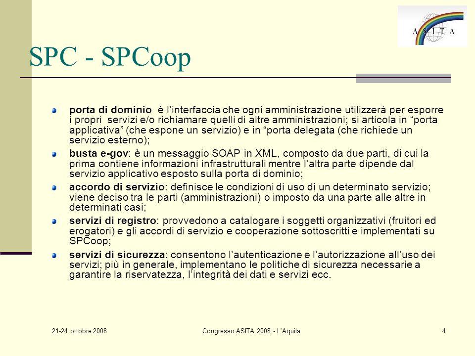 21-24 ottobre 2008 Congresso ASITA 2008 - L Aquila15 Prossimi passi … seguire levoluzione delle implementing rules di INSPIRE … proseguire nell integrazione dei servizi di rete INSPIRE e SPCoop.