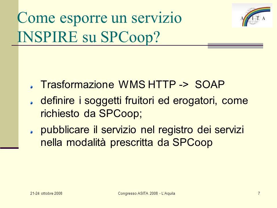 21-24 ottobre 2008 Congresso ASITA 2008 - L Aquila7 Come esporre un servizio INSPIRE su SPCoop.
