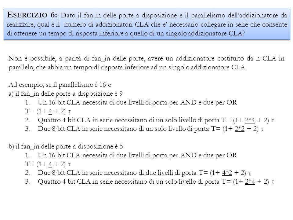 Non è possibile, a parità di fan_in delle porte, avere un addizionatore costituito da n CLA in parallelo, che abbia un tempo di risposta inferiore ad