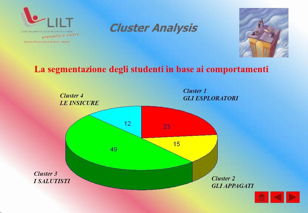 Cluster Analysis La segmentazione degli studenti in base ai comportamenti Cluster 4 LE INSICURE Cluster 1 GLI ESPLORATORI Cluster 3 I SALUTISTI Cluster 2 GLI APPAGATI