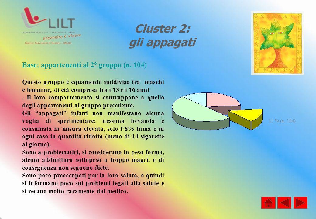 Cluster 2: gli appagati Base: appartenenti al 2° gruppo (n.