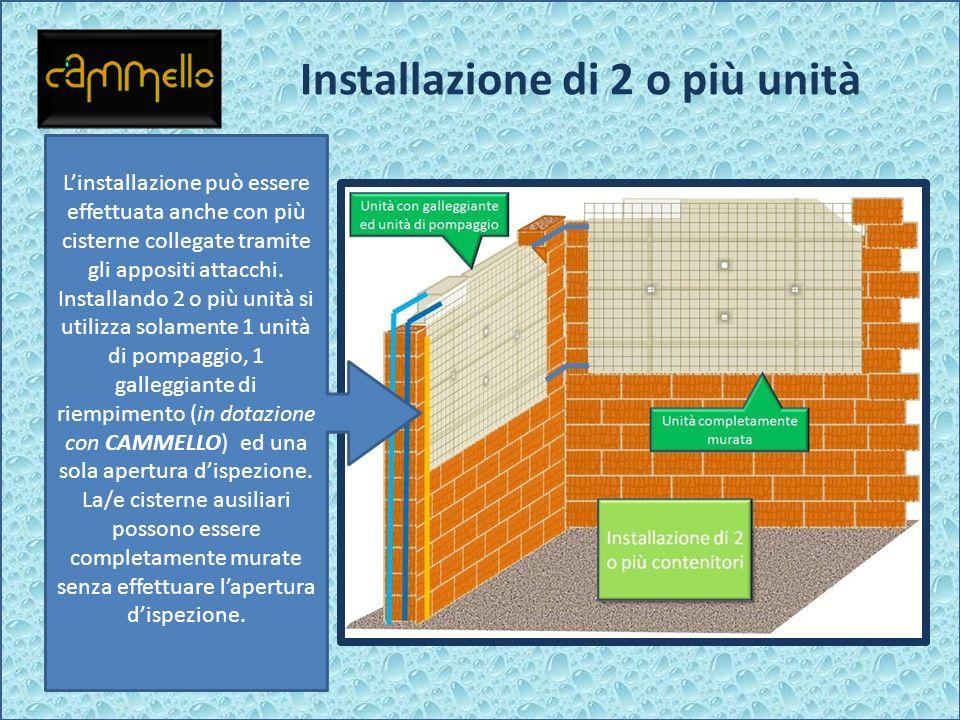 Installazione di 2 o più unità Linstallazione può essere effettuata anche con più cisterne collegate tramite gli appositi attacchi. Installando 2 o pi