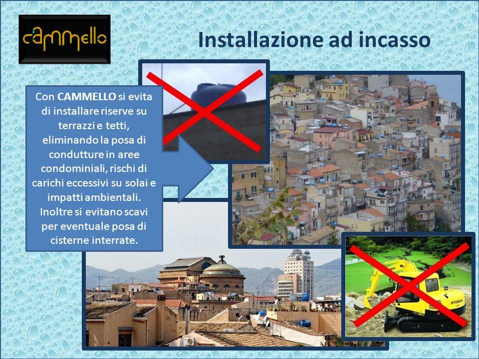 Installazione ad incasso Con CAMMELLO si evita di installare riserve su terrazzi e tetti, eliminando la posa di condutture in aree condominiali, risch