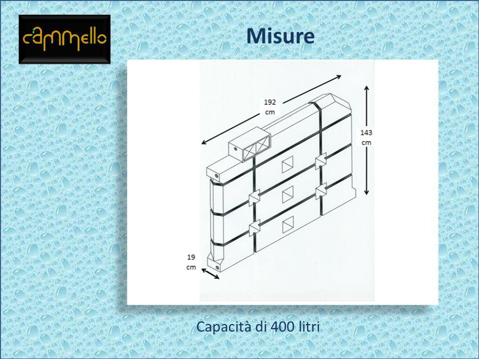 Misure Capacità di 400 litri