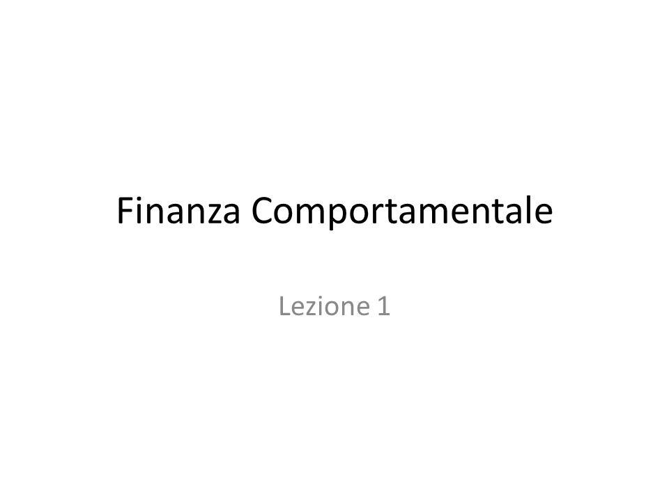 Finanza Comportamentale Lezione 1
