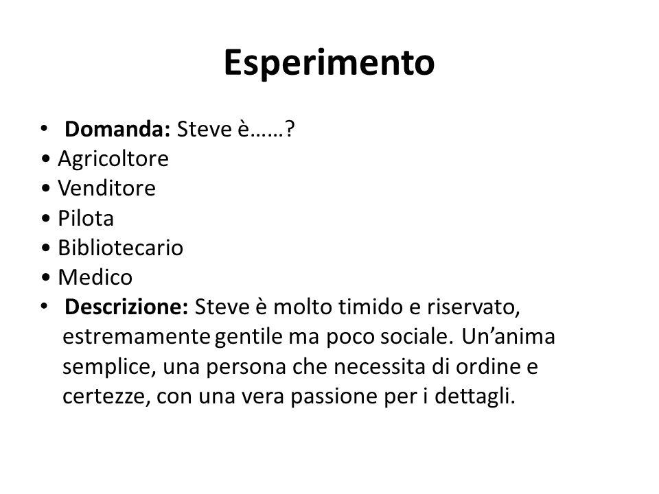 Esperimento Domanda: Steve è……? Agricoltore Venditore Pilota Bibliotecario Medico Descrizione: Steve è molto timido e riservato, estremamente gentile
