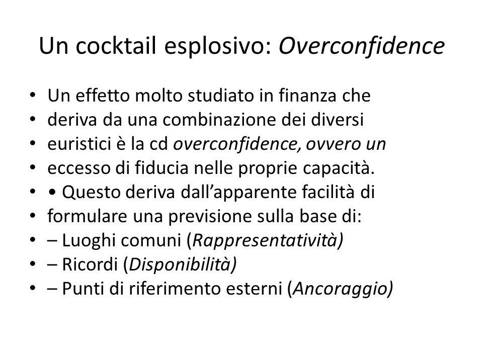 Un cocktail esplosivo: Overconfidence Un effetto molto studiato in finanza che deriva da una combinazione dei diversi euristici è la cd overconfidence