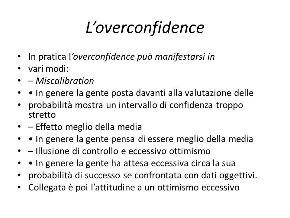 Loverconfidence In pratica loverconfidence può manifestarsi in vari modi: – Miscalibration In genere la gente posta davanti alla valutazione delle pro