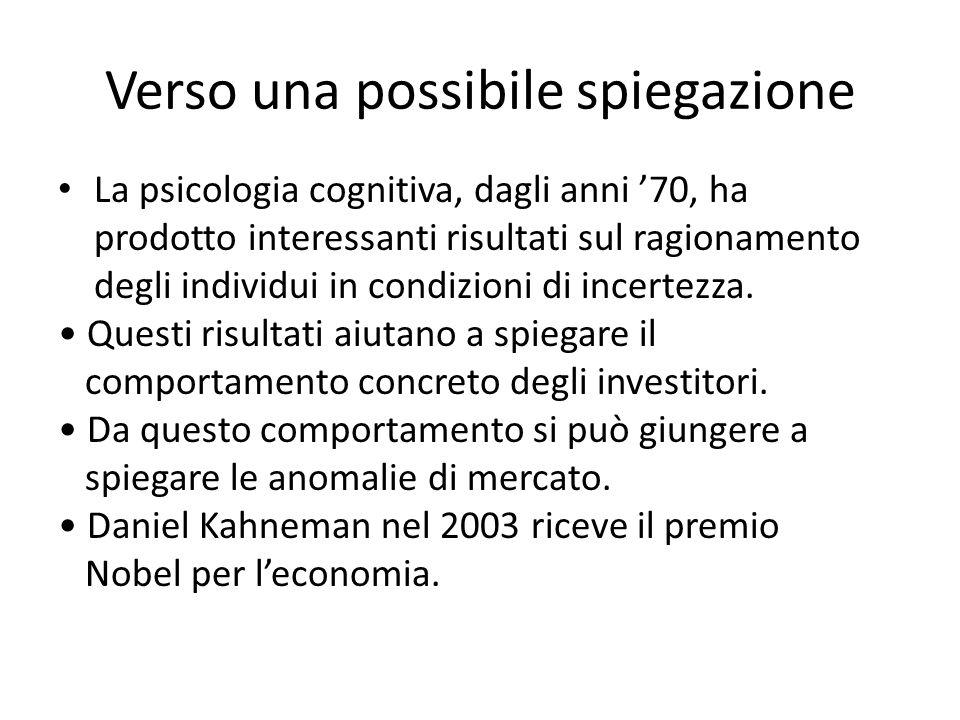 Verso una possibile spiegazione La psicologia cognitiva, dagli anni 70, ha prodotto interessanti risultati sul ragionamento degli individui in condizi