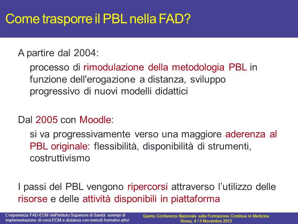 Come trasporre il PBL nella FAD? A partire dal 2004: processo di rimodulazione della metodologia PBL in funzione dell'erogazione a distanza, sviluppo