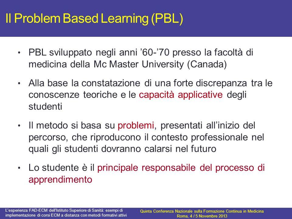 Il Problem Based Learning (PBL) PBL sviluppato negli anni 60-70 presso la facoltà di medicina della Mc Master University (Canada) Alla base la constat