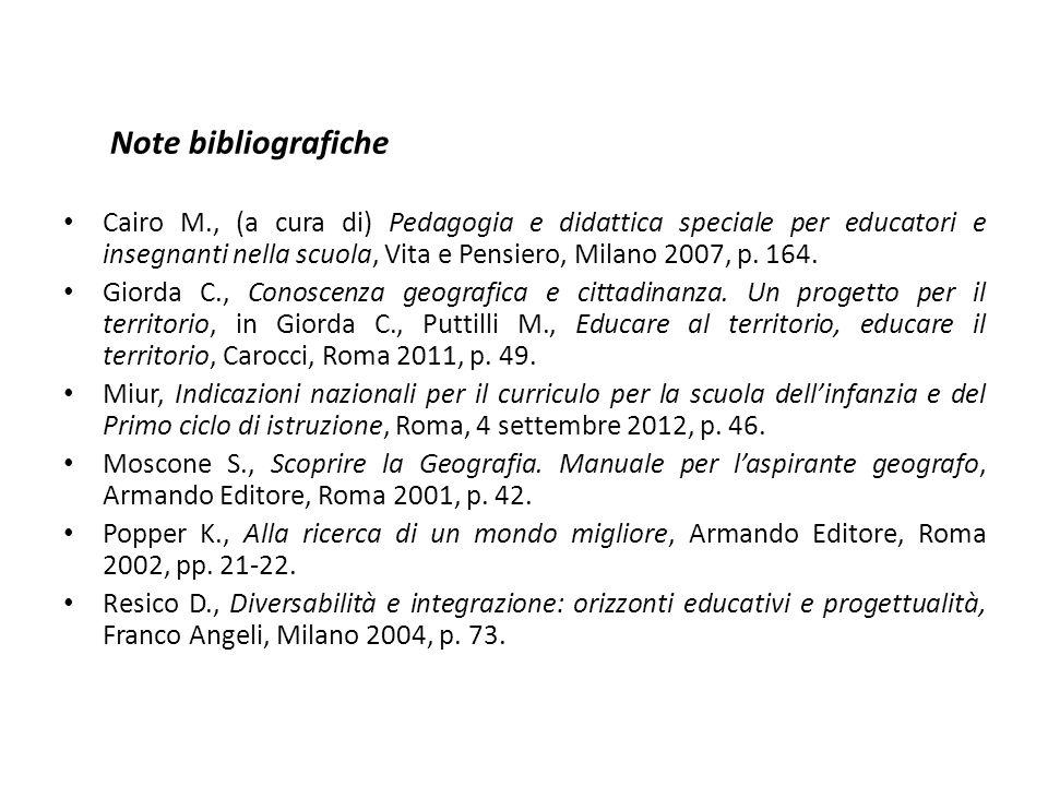 Note bibliografiche Cairo M., (a cura di) Pedagogia e didattica speciale per educatori e insegnanti nella scuola, Vita e Pensiero, Milano 2007, p. 164