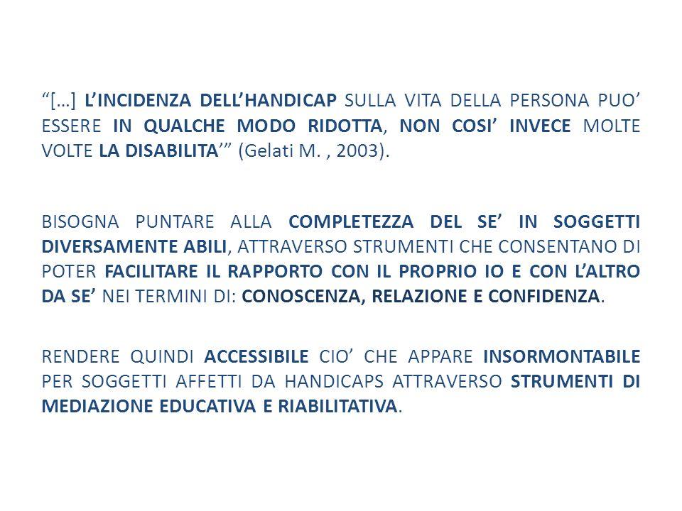 […] LINCIDENZA DELLHANDICAP SULLA VITA DELLA PERSONA PUO ESSERE IN QUALCHE MODO RIDOTTA, NON COSI INVECE MOLTE VOLTE LA DISABILITA (Gelati M., 2003).