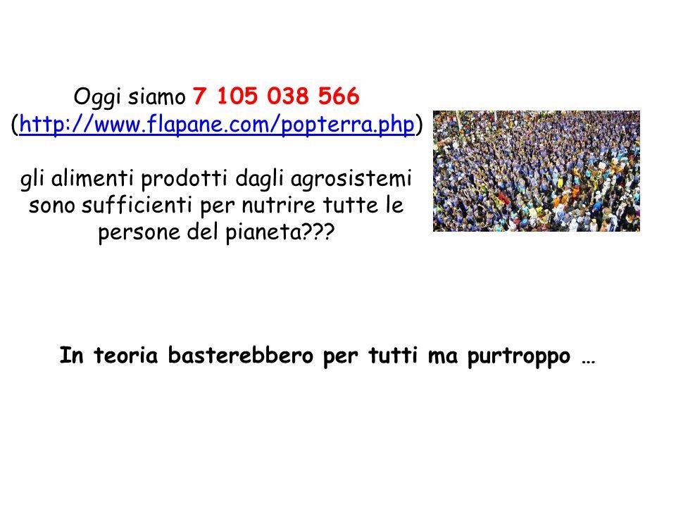 Oggi siamo 7 105 038 566 (http://www.flapane.com/popterra.php)http://www.flapane.com/popterra.php gli alimenti prodotti dagli agrosistemi sono suffici