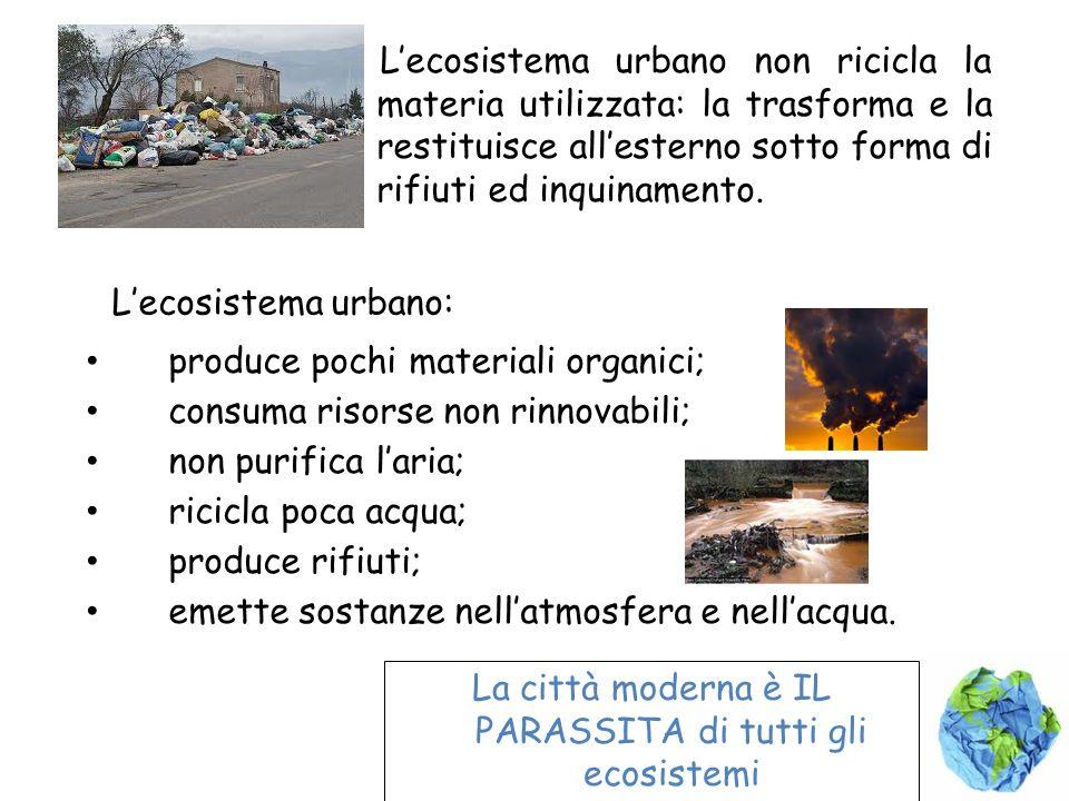 Lecosistema urbano non ricicla la materia utilizzata: la trasforma e la restituisce allesterno sotto forma di rifiuti ed inquinamento. Lecosistema urb