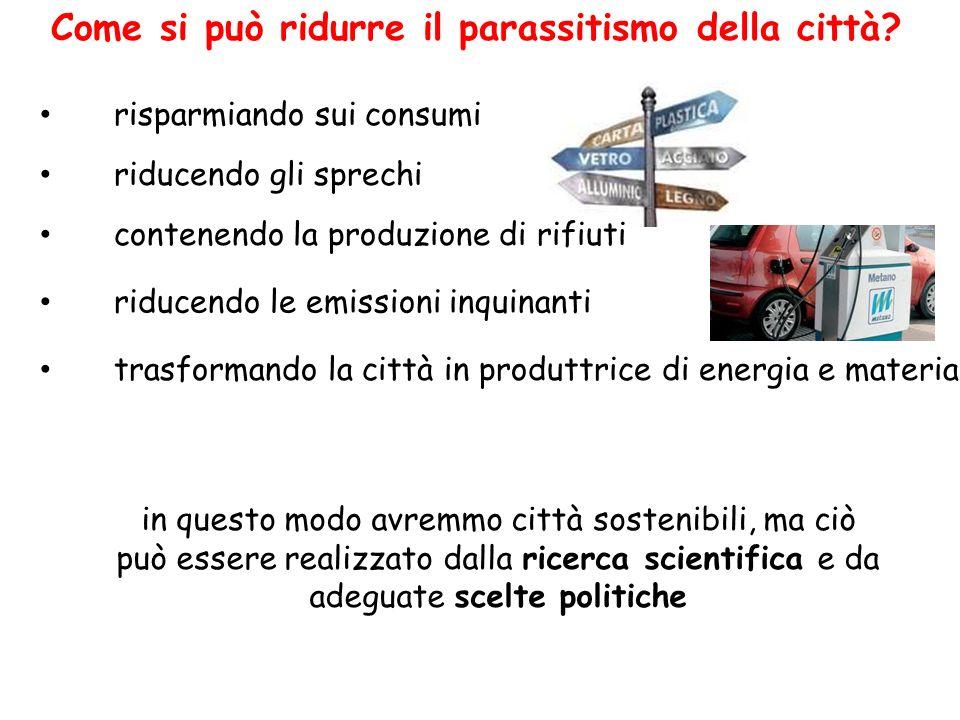 Come si può ridurre il parassitismo della città? trasformando la città in produttrice di energia e materia riducendo le emissioni inquinanti contenend