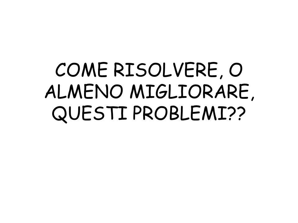 COME RISOLVERE, O ALMENO MIGLIORARE, QUESTI PROBLEMI??