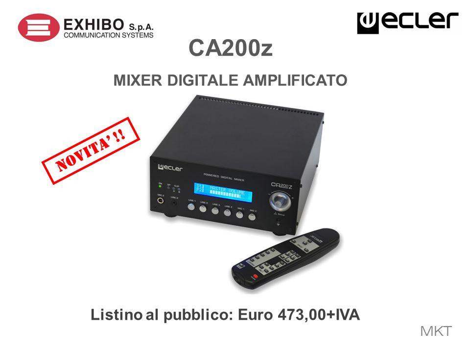 MKT INTRODUCTION CA200z e un compatto mixer digitale amplificato con 2 zone in uscita e 6 ingressi audio, dotato inoltre di un completo set di opzioni per il controllo remoto.