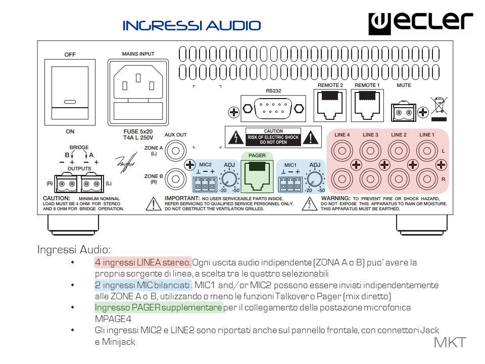 MKT Uscite Audio: 2 uscite amplificate (70 Wrms) che possono essere configuraste nelle modalit à STEREO, MONO, BRIDGE oppure nella modalit à ZONE A/B indipendenti Uscite AUX A/B LINE, per il collegamento di amplificatori esterni o mixer, matrici, etc … USCITE AUDIO