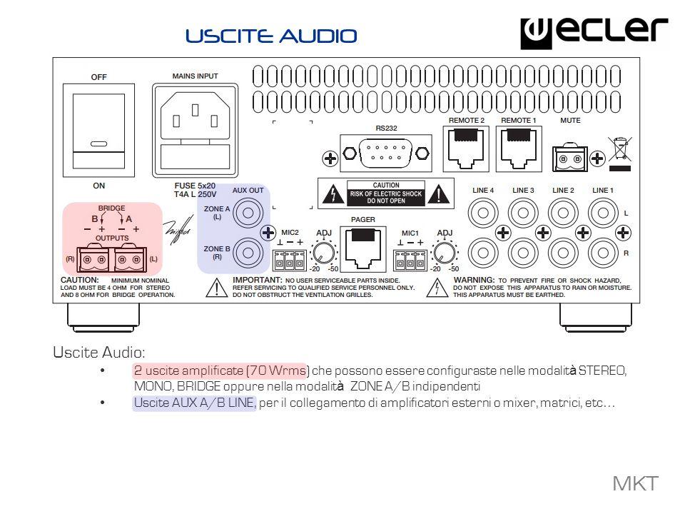 MKT Controlli Locali: Display LCD sul pannello frontale Encoder digitale rotativo per la gestione dei volumi, la selezione delle zone e per laccesso alle principali funzioni di setup Tasti per lattivazione diretta degli ingressi LINE e MIC Indicatori LED per ON / STANDBY, Signal Present and CLIP Ricevitore IR (telecomando IR incluso) CONTROLLI LOCALI