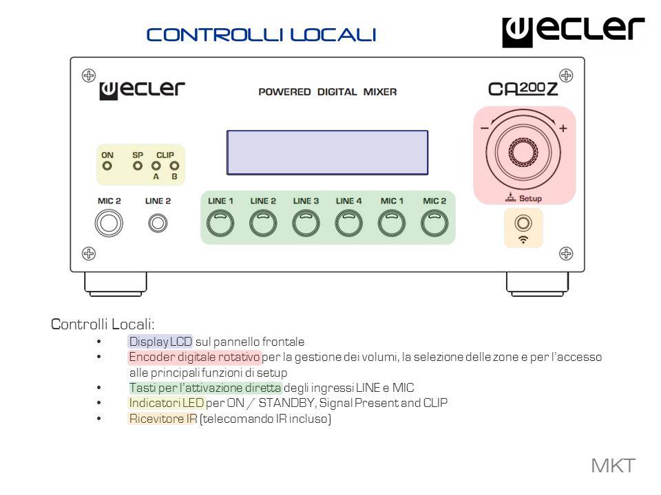 MKT Opzioni Controllo Remoto: Telecomando IR (incluso) con ampia possibilit à di controllo: ON/STDBY, MUTE e VOL indipendenti per le zone, selezione indipendente degli ingressi per le zone e controllo VOL, memorizzazione dei preset 2 porte REMOTE (una per zona) per dispositivi 0-10VCC esterni, come I pannelli della serie WPm, per il controllo del volume, la selezione delle sorgenti e dei preset Interfaccia RS-232 compatibile con il protocollo Ecler CA-NET per sistemi di terze parti Porta PAGER per il collegamento del microfono paging MPAGE4 Porta MUTE per la connessione a sistemi di emergenza esterni (MUTE totale) OPZIONI CONTROLLO REMOTO