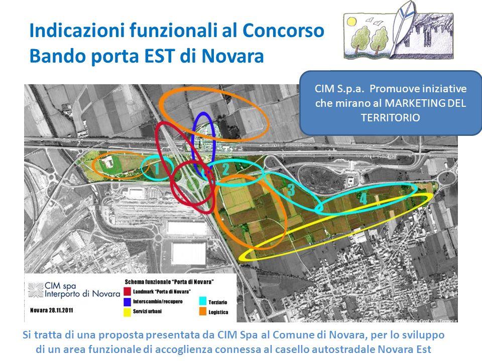 Indicazioni funzionali al Concorso Bando porta EST di Novara Si tratta di una proposta presentata da CIM Spa al Comune di Novara, per lo sviluppo di un area funzionale di accoglienza connessa al casello autostradale Novara Est CIM S.p.a.