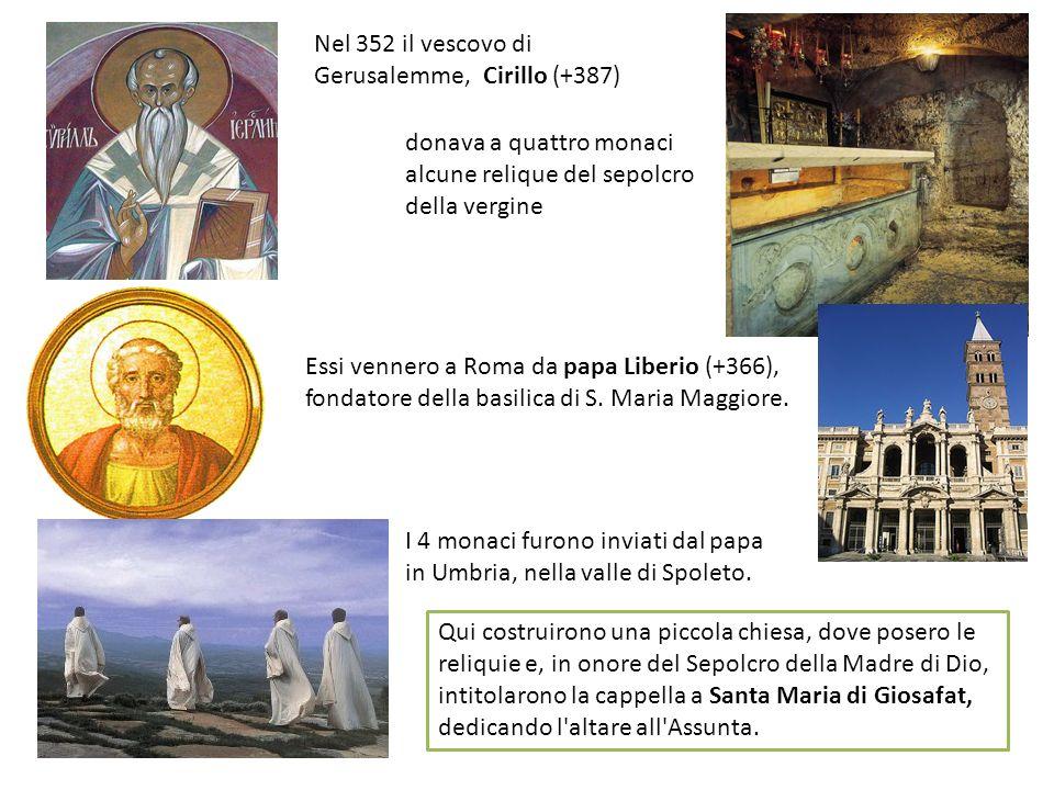 Sembra che san Benedetto sia venuto da Norcia ad Assisi verso il 516, ed qui ebbe in dono la chiesina con una piccola porzione del terreno circostante, perché i monaci potessero piantare un orto.