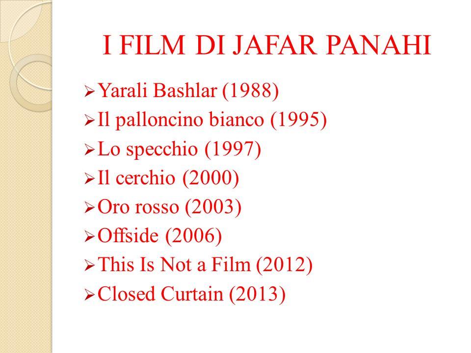 I FILM DI JAFAR PANAHI Yarali Bashlar (1988) Il palloncino bianco (1995) Lo specchio (1997) Il cerchio (2000) Oro rosso (2003) Offside (2006) This Is