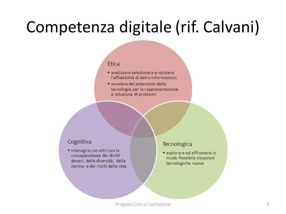 Competenza digitale (rif. Calvani) Etica analizzare selezionare e valutare laffidabilità di dati e informazioni; avvalere del potenziale delle tecnolo