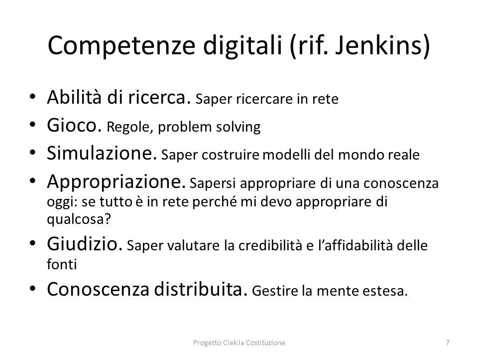 Competenze digitali (rif. Jenkins) Abilità di ricerca. Saper ricercare in rete Gioco. Regole, problem solving Simulazione. Saper costruire modelli del