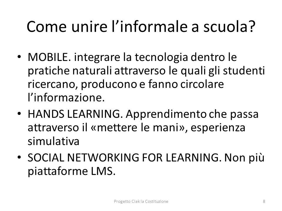 Come unire linformale a scuola? MOBILE. integrare la tecnologia dentro le pratiche naturali attraverso le quali gli studenti ricercano, producono e fa
