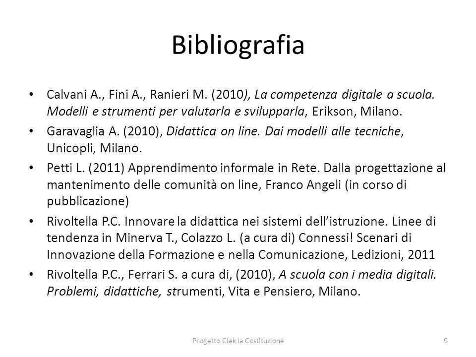 Bibliografia Calvani A., Fini A., Ranieri M. (2010), La competenza digitale a scuola. Modelli e strumenti per valutarla e svilupparla, Erikson, Milano