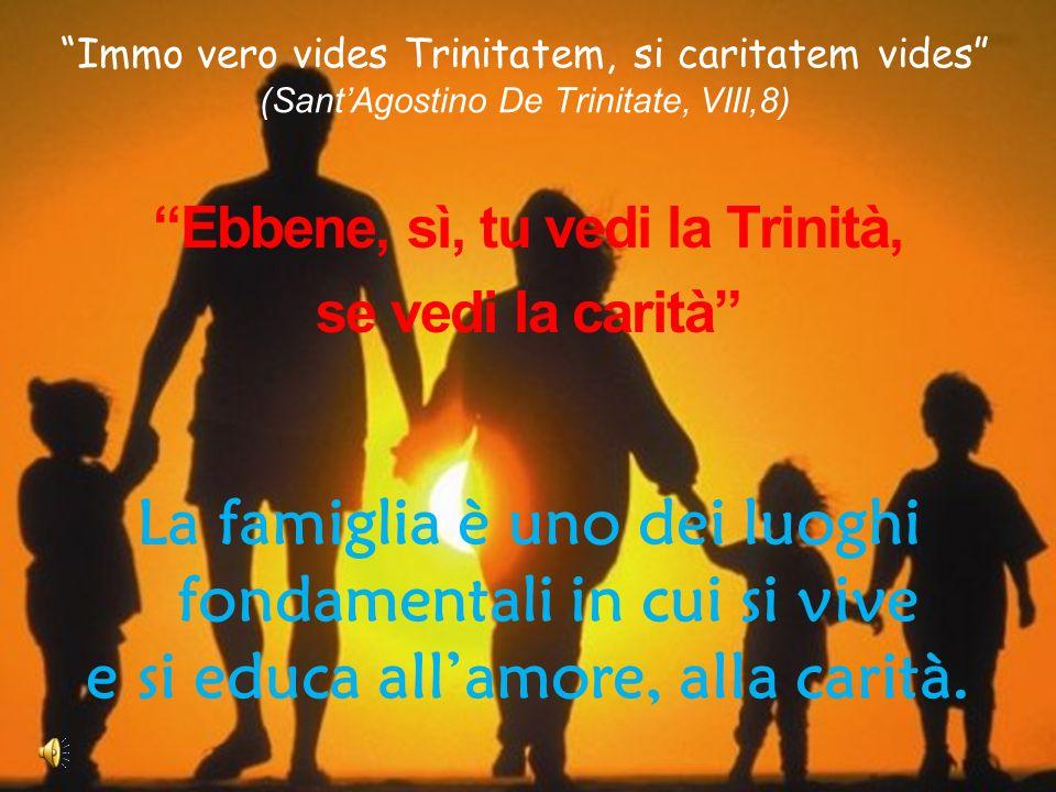 Immo vero vides Trinitatem, si caritatem vides (SantAgostino De Trinitate, VIII,8) Ebbene, sì, tu vedi la Trinità, se vedi la carità La famiglia è uno dei luoghi fondamentali in cui si vive e si educa allamore, alla carità.