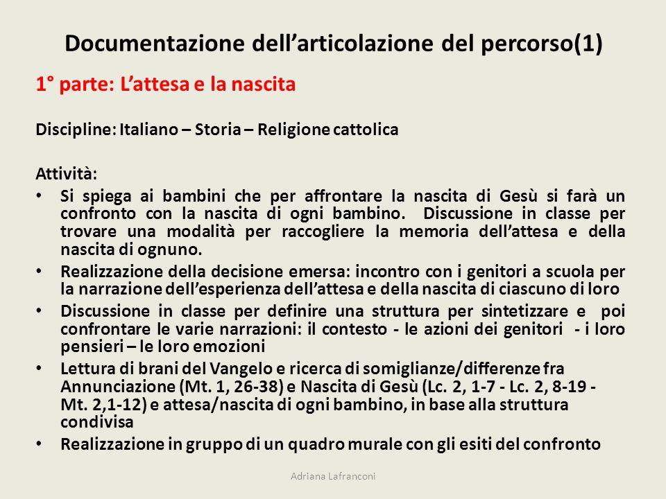 Documentazione dellarticolazione del percorso(1) Adriana Lafranconi 1° parte: Lattesa e la nascita Discipline: Italiano – Storia – Religione cattolica