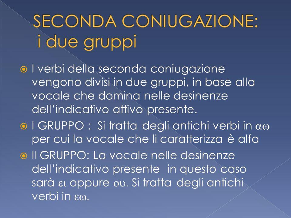 I verbi della seconda coniugazione vengono divisi in due gruppi, in base alla vocale che domina nelle desinenze dellindicativo attivo presente. I GRUP