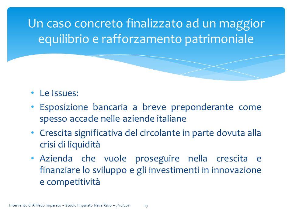 Le Issues: Esposizione bancaria a breve preponderante come spesso accade nelle aziende italiane Crescita significativa del circolante in parte dovuta
