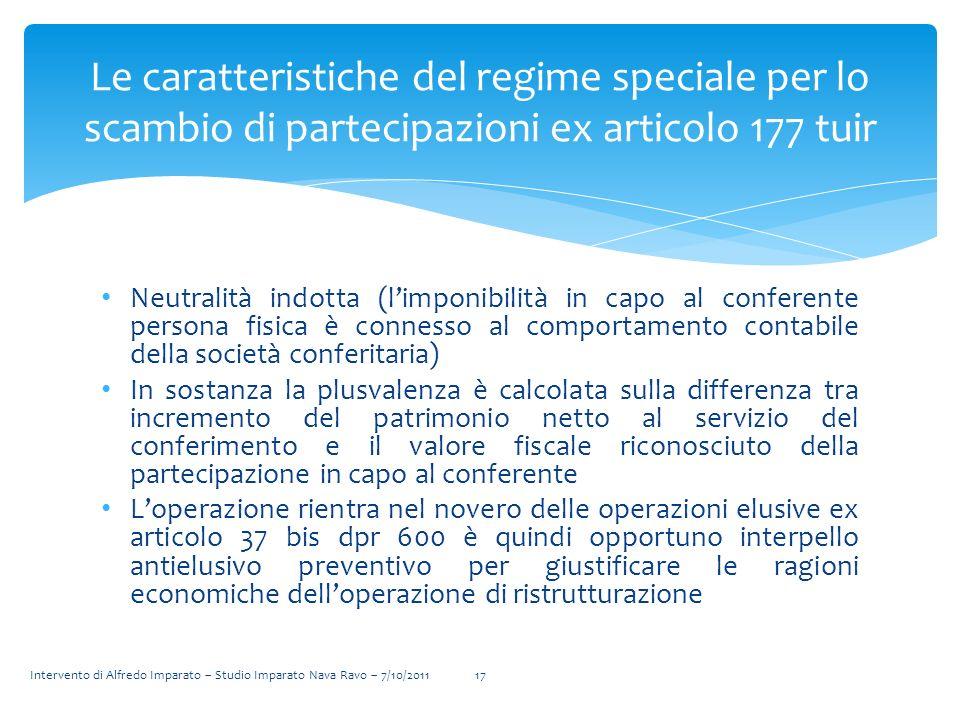 Neutralità indotta (limponibilità in capo al conferente persona fisica è connesso al comportamento contabile della società conferitaria) In sostanza l