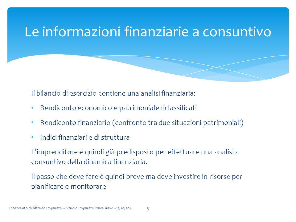 Il bilancio di esercizio contiene una analisi finanziaria: Rendiconto economico e patrimoniale riclassificati Rendiconto finanziario (confronto tra du