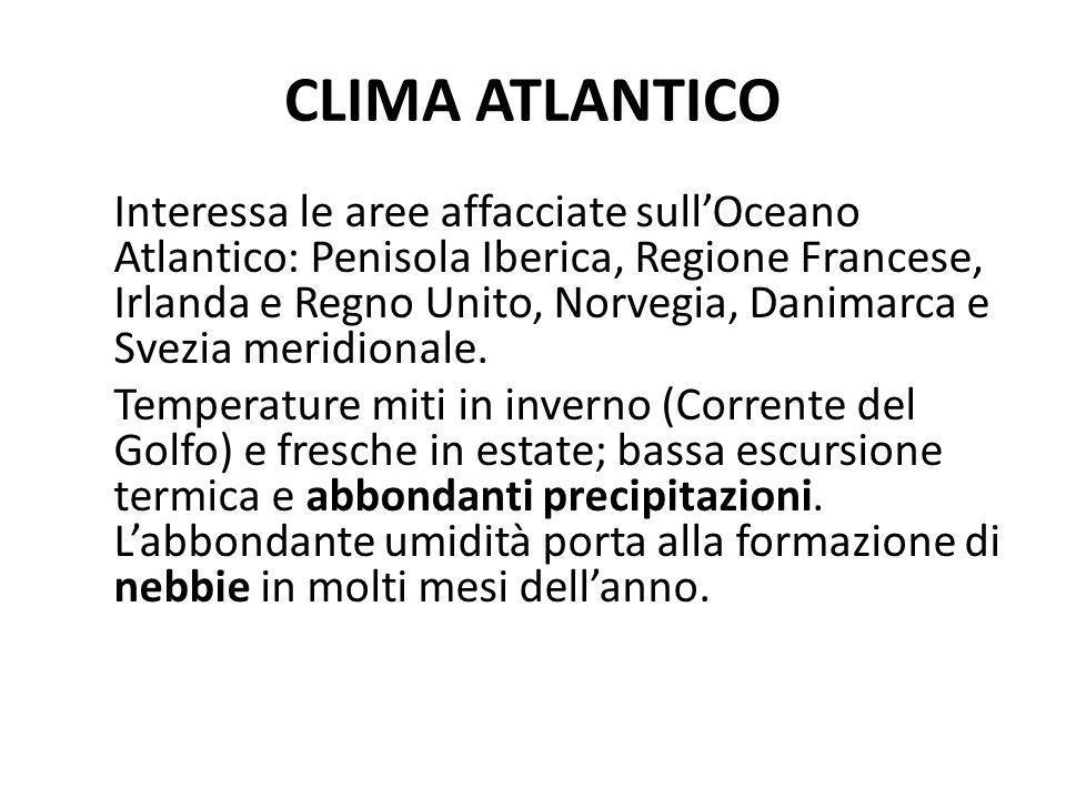 CLIMA ATLANTICO Interessa le aree affacciate sullOceano Atlantico: Penisola Iberica, Regione Francese, Irlanda e Regno Unito, Norvegia, Danimarca e Sv