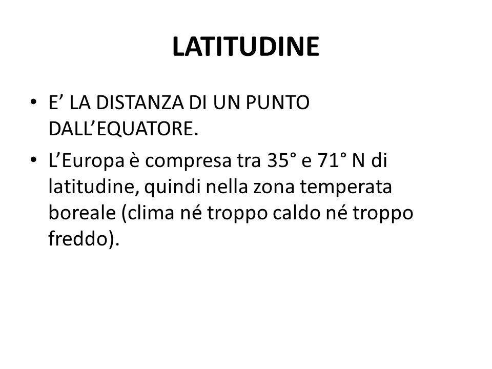 LATITUDINE E LA DISTANZA DI UN PUNTO DALLEQUATORE. LEuropa è compresa tra 35° e 71° N di latitudine, quindi nella zona temperata boreale (clima né tro