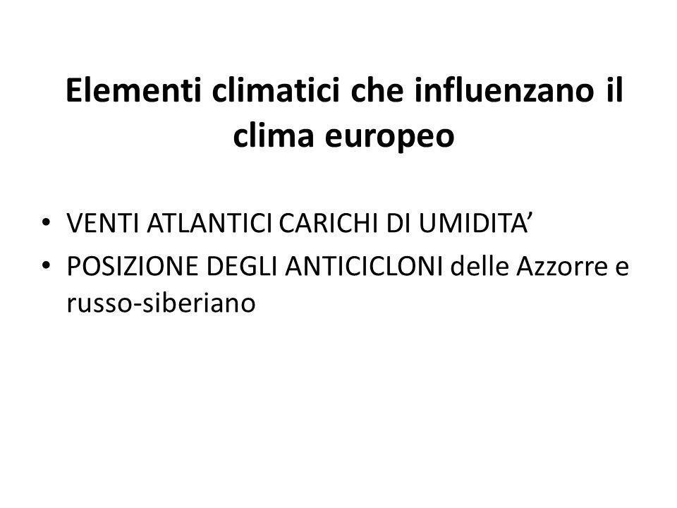 Elementi climatici che influenzano il clima europeo VENTI ATLANTICI CARICHI DI UMIDITA POSIZIONE DEGLI ANTICICLONI delle Azzorre e russo-siberiano