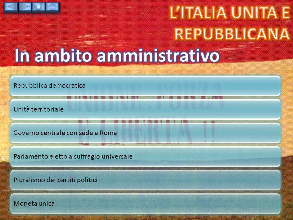 Repubblica democraticaUnità territorialeGoverno centrale con sede a RomaParlamento eletto a suffragio universalePluralismo dei partiti politiciMoneta unica