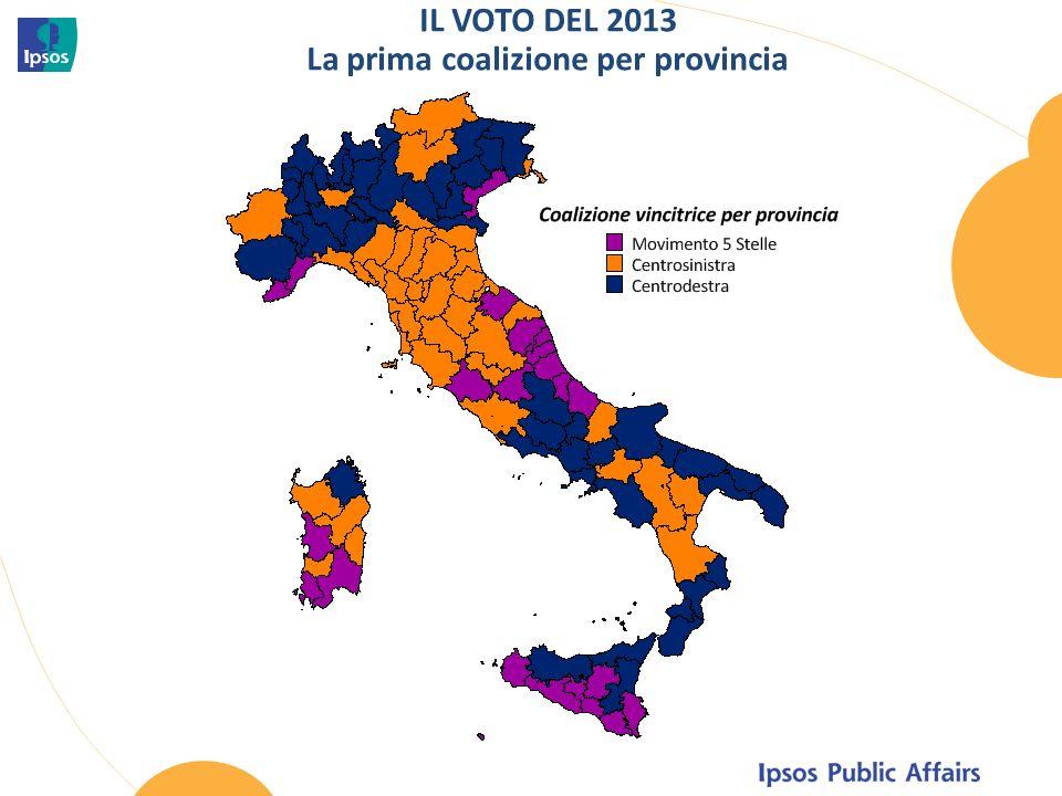 IL VOTO DEL 2013 La prima coalizione per provincia