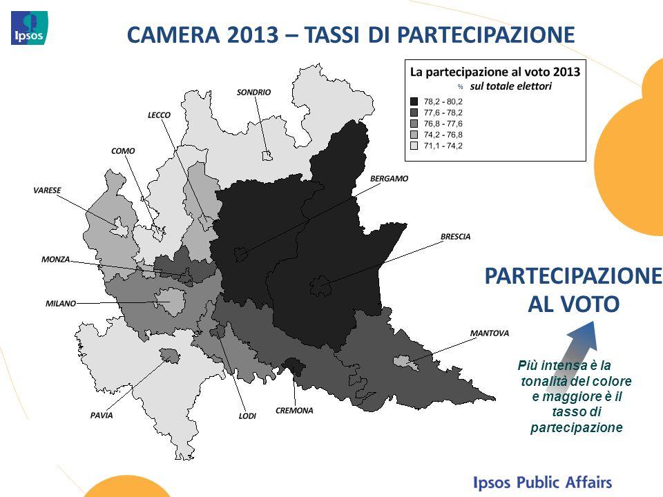 CAMERA 2013 – TASSI DI PARTECIPAZIONE PARTECIPAZIONE AL VOTO % Più intensa è la tonalità del colore e maggiore è il tasso di partecipazione